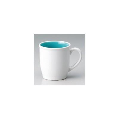 ☆ マグカップ ☆白青ぬり分マグカップ [ 8.7 x 11.8 x 9.2cm (340cc) 298g ] 【 カフェ レストラン 和食器 飲食店 業務用 】