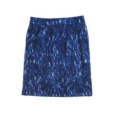 【中古】自由区 オンワード樫山 タイト スカート 膝丈 総柄 ジャガード サイズ40 青 ブルー レディース 【ベクトル 古着】