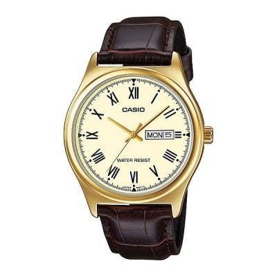 腕時計 カシオ Casio メンズ ブラウン レザー ストラップ 腕時計 ゴールド ダイヤル Day/Date  MTP-V006GL-9B