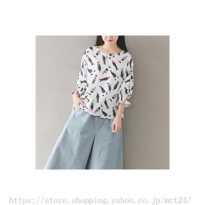 レディース森ガール ゆったりシャツ トップス 長袖花柄 シャツ 春秋用  大人かわいい