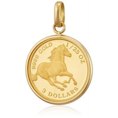 新品 送料無料 K24 K18 YG ツバル ホース 馬 ペンダント トップ 1/25 oz オンス コイン ゴールド 金 金貨 純金