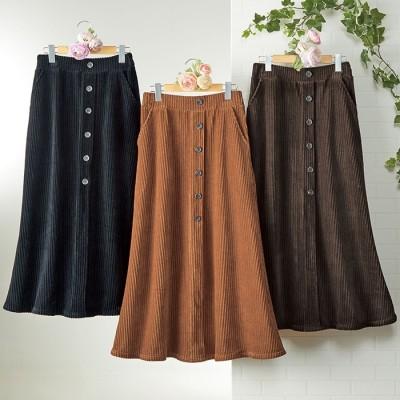 ベルーナ 【3枚組】柔らかあったかボタン使いロングスカート 1 L レディース