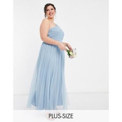 アナヤ プラス Anaya Plus レディース パーティードレス Anaya With Love Plus Bridesmaid Tulle One Shoulder Maxi Dress In Soft Blue ソフトブルー
