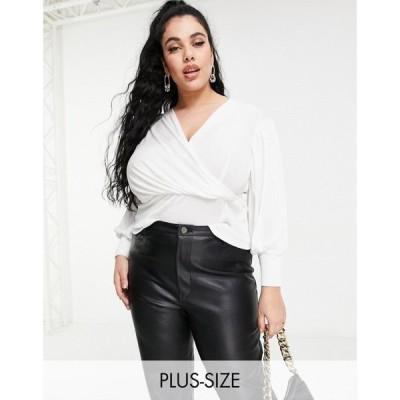 クローゼットロンドン Closet London Plus レディース ブラウス・シャツ トップス wrap blouse top with volume sleeve in ivory アイボリー