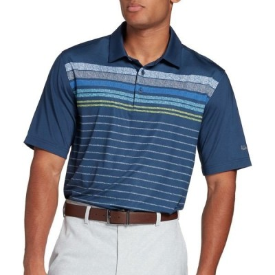 ウォルター・ヘーゲン ポロシャツ トップス メンズ Walter Hagen Men's 11 Majors Digi Printed Stripe Golf Polo Navy