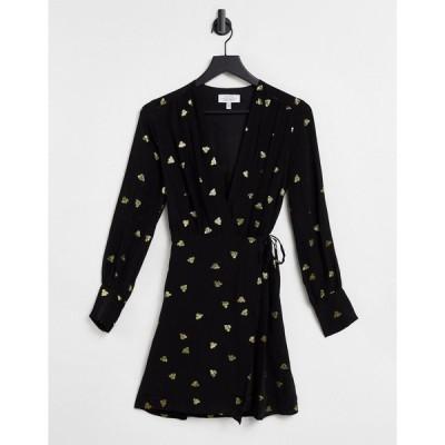 アンドアザーストーリーズ ミディドレス レディース & Other Stories recycled wrap foil printed mini dress in black エイソス ASOS ブラック 黒