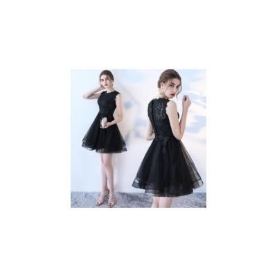 パーティードレス 膝丈 結婚式ドレス ノースリーブ お呼ばれドレス ウェディングドレス ミニドレス フォーマル 刺繍 セレブ 二次会 発表会 レディース