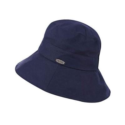 [AMgrocery] (ネイビー) 春夏 帽子 レディース 綿100% シンプル ハット UVカット 折りたたみ 日よけ 紫外線対策 旅行