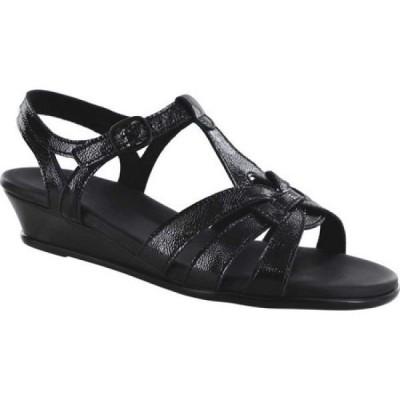 サス SAS レディース サンダル・ミュール ウェッジソール シューズ・靴 Aurora Wedge T Strap Sandal Carbon Leather