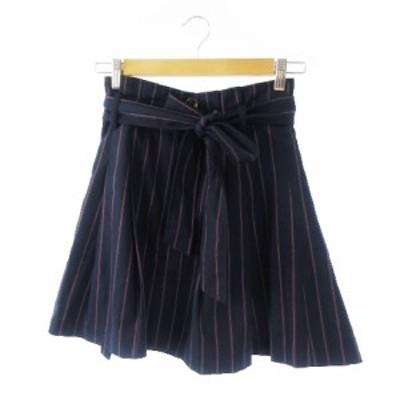 【中古】トランテアン ソン ドゥ モード 31 Sons de mode スカート フレア ミニ リボン ストライプ 36 紺 ネイビー