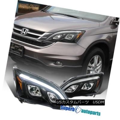 ヘッドライト 07-11ホンダCRV CR-VブラックLED DRLプロジェクターヘッドライト交換用の適合 07-11 Fit Honda CRV C