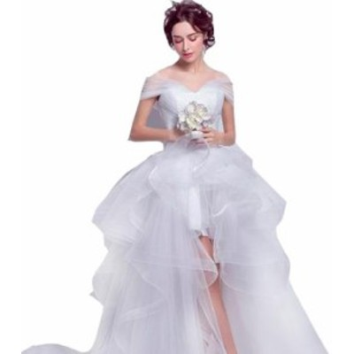 ウェディングドレス カラー ワンピース Vネック 結婚式パーディ- 花嫁 ドレス 編上げタイプ ロング アシンメトリー トレーン 引