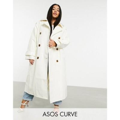 エイソス ASOS Curve レディース トレンチコート アウター Asos Design Curve Croc Vinyl Trench Coat In White ホワイト