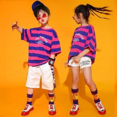 キッズダンス衣装ヒップホップチアチアガールHIPHOP子供男の子女の子チェックTシャツスカートパンツジャズダンス練習着応援団運動会