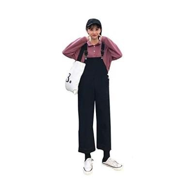 Alhyla レディース オーバーオール デニム サロペット ロング 9分パンツ 着痩せ ゆったり 無地 森ガール (ブラック L)