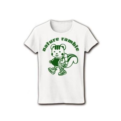 「自然散策」のリス リブクルーネックTシャツ(ホワイト)