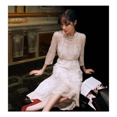 パーティードレス ロングドレス ワンピ 20代 30代 40代 韓国 ロング 袖あり マキシ丈 結婚式 大きいサイズ 長袖 シースルー レース 刺繍 二次会 およばれ 上品