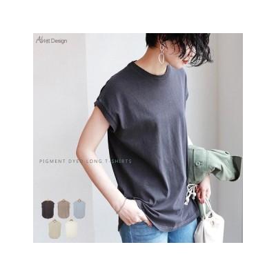 カットソー、Tシャツ半袖(柄、パターン) Tシャツ チュニック ピグメント加工 裾ラウンド フレンチスリーブ