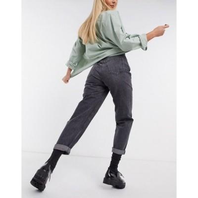 プルアンドベアー レディース デニムパンツ ボトムス Pull&Bear elasticated waist mom jean in washed black