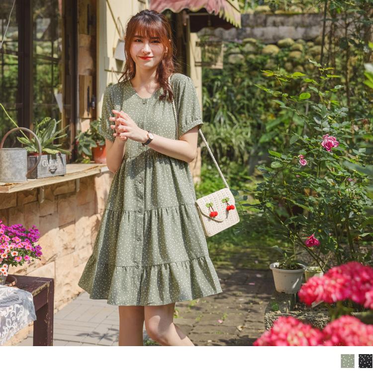 法式波點拋袖蛋糕裙襬開襟洋裝