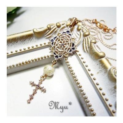 ネックレス シュガーパール 十字架 ピンクゴールドミニトップ ピンクゴールドチェーン 女性 プレゼント