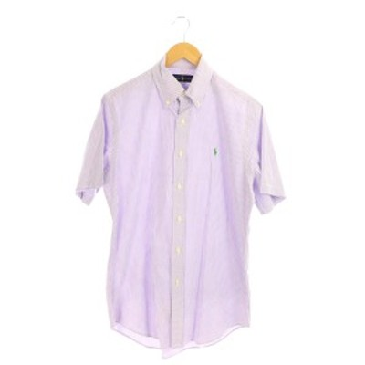 【中古】ラルフローレン RALPH LAUREN 半袖ストライプシャツ ボタンダウン M 紫 パープル /MY ■OS メンズ