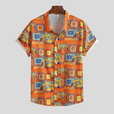 2020 夏男性シャツカミーサ カジュアル 半袖シャツ プリント 胸ポケット ルーズ 通気性シャツ 男性トップカミーサ