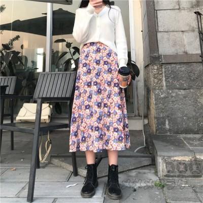 花柄スカート 春夏 フリーサイズ 体型カバー レディース ハイウエスト ウエストゴム Aラインスカート ゆったり 着痩せ ガーリー ロングスカート デイリーコーデ