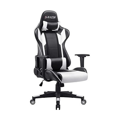 Furniwell Gaming Chair Office Chair Racing Desk Chair Adjustable Swivel High Back PU Leather Executive Ergonomic Computer Chair with Headres