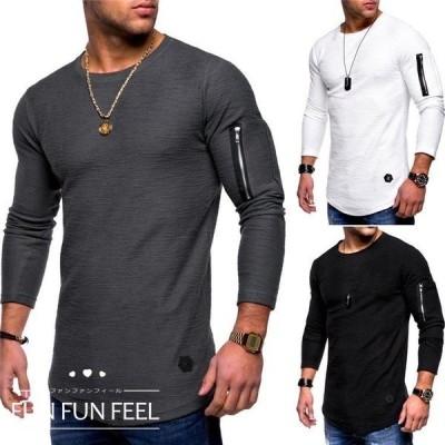 メンズ Tシャツ トップス  カットソー 長袖 2019夏服 シンプル 薄手 カジュアル スポーツ ウェア 格好いい 4色 M〜3XL