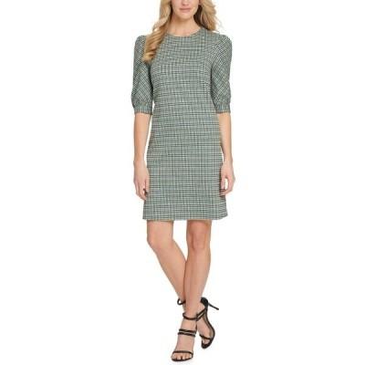ダナ キャラン ニューヨーク ワンピース トップス レディース Printed Puff-Sleeve Sheath Dress Jade Multi