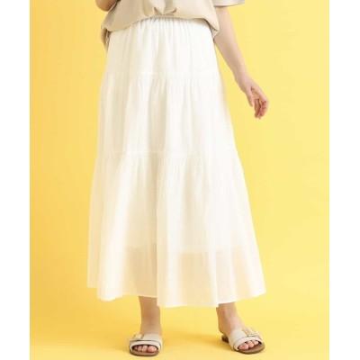 【エウルキューブ】 シアーコットンスカート レディース ホワイト 3L eur3( 大きいサイズ)