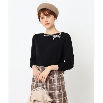 【クチュールブローチ】 リボンフェイクパール刺繍ニット レディース ブラック 38(M) Couture Brooch