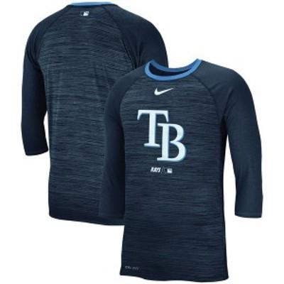 ナイキ メンズ Tシャツ トップス Tampa Bay Rays Nike Velocity 3/4-Sleeve Raglan T-Shirt Navy