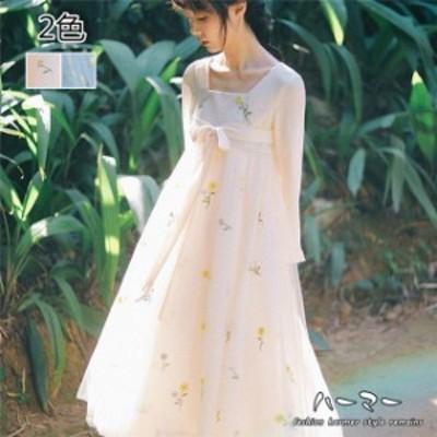 レディースワンピース チュール ビーチワンピース レイヤードワンピース Aライン 少女風 ドレス ロング クラシカル 春秋 写真撮影