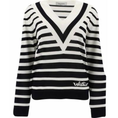 ヴァレンティノ Valentino レディース ニット・セーター トップス Striped Wool Sweater White