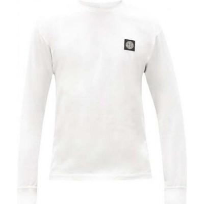 ストーンアイランド Stone Island メンズ 長袖Tシャツ トップス Logo-patch long-sleeved cotton T-shirt White