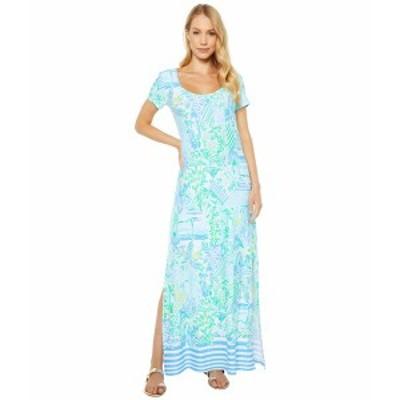 リリーピュリッツァー レディース ワンピース トップス Wynne Maxi Dress Whisper Blue Beach Happy Engineered Knit