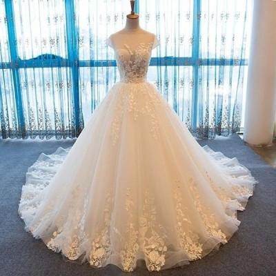 ウェディングドレス プリンセスライン ボートネック セクシー ボールガウン トレーン コルセット 二次会 大きいサイズ