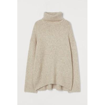 H&M - タートルネックセーター - ブラウン