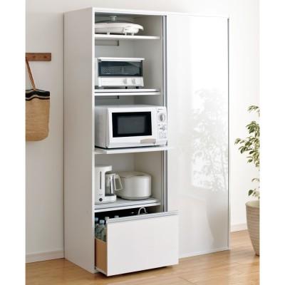 全部隠せる スライド棚付きキッチン家電収納庫 ハイタイプ ホワイト