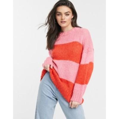 エイソス レディース ニット・セーター アウター ASOS DESIGN oversize fluffy sweater in block stripe Pink