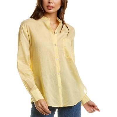 ヴィンス シャツ トップス レディース Vince Fine Stripe Silk-Blend Woven Shirt -