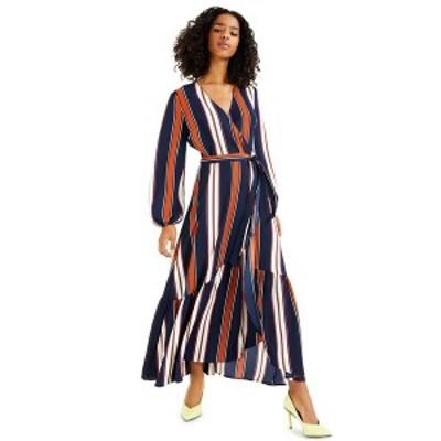 バースリー レディース ワンピース トップス High-Low Striped Maxi Wrap-Dress, Created for Macy's Summer Stripe