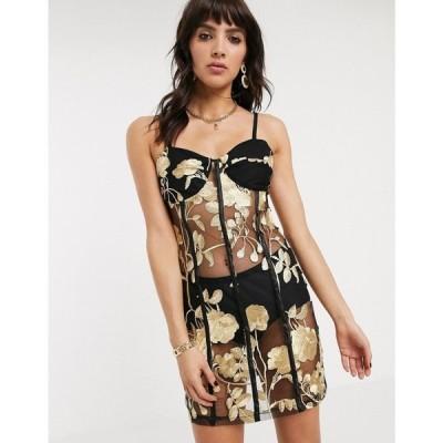 ジャガーストーン Jagger and Stone レディース ワンピース キャミワンピ ワンピース・ドレス Jagger & Stone mini cami dress in metallic rose mesh