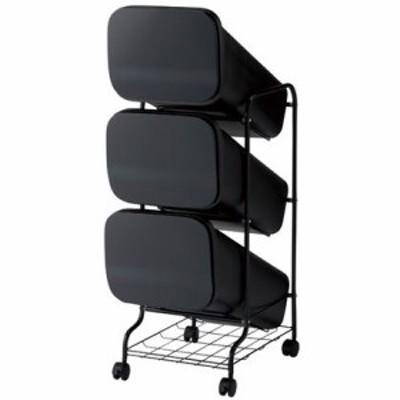 H&H スムース分別ごみ箱3段ダストボックスGBBH002 ブラック  60L 252809