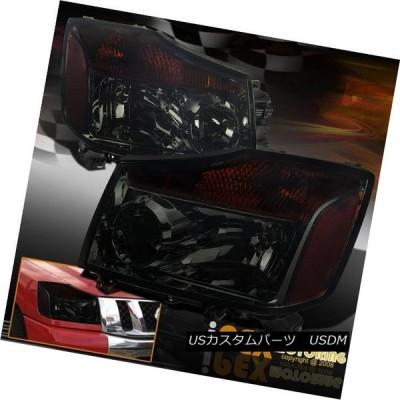 ヘッドライト すべての2004?2015年Nissan Titan& 2004-2007アルマダダークスモークヘッドライトLH + RH Fo