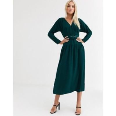 エイソス レディース ワンピース トップス ASOS DESIGN wrap maxi dress with buckle belt Green