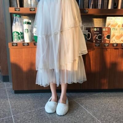 レディース 大きいサイズ Aライン  ロングスカート チュールスカート ハイウエストゴム  春夏 ティアードスカート  ゆったり