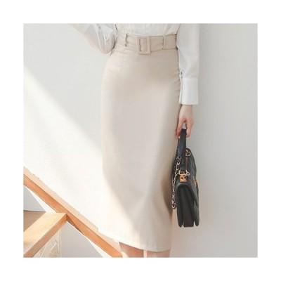 タイトスカート レディース 40代 50代 フォーマル ファッション 女性 上品 ベージュ ロング丈 ペンシルスカート 無地 きれいめ ハイウエスト ベルト